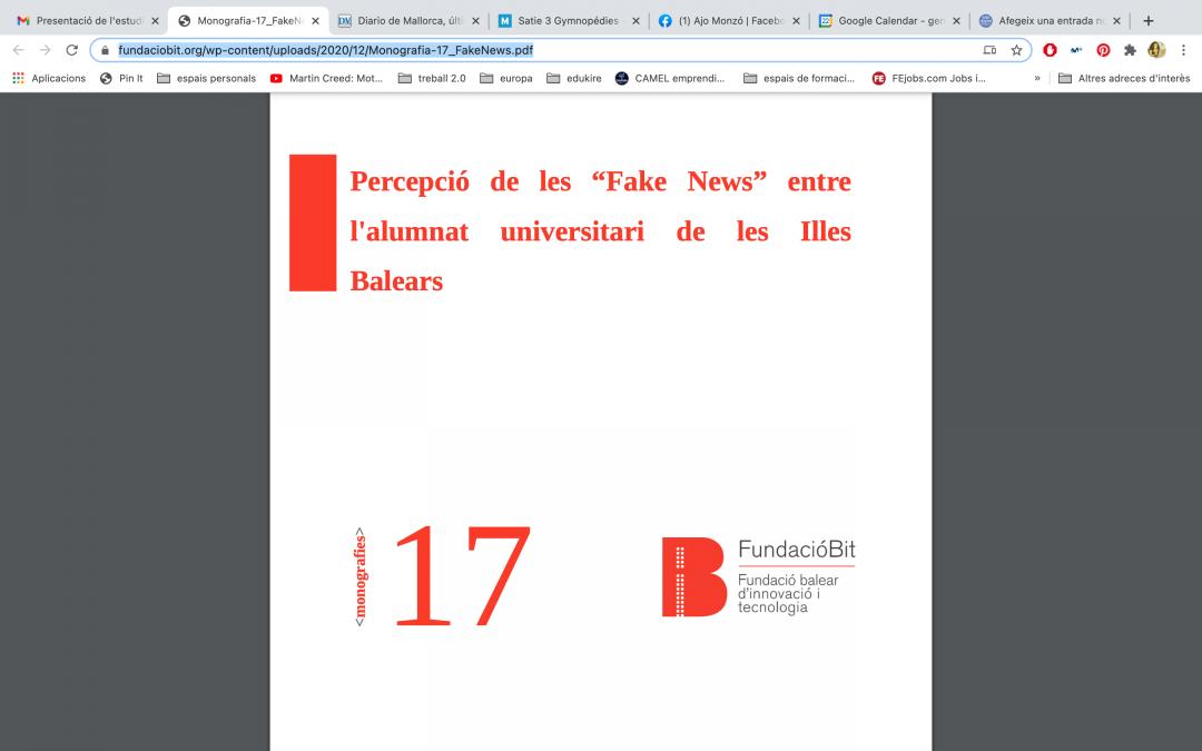 """Percepció de les """"Fake News"""" entre l'alumnat universitari de les Illes Balears"""